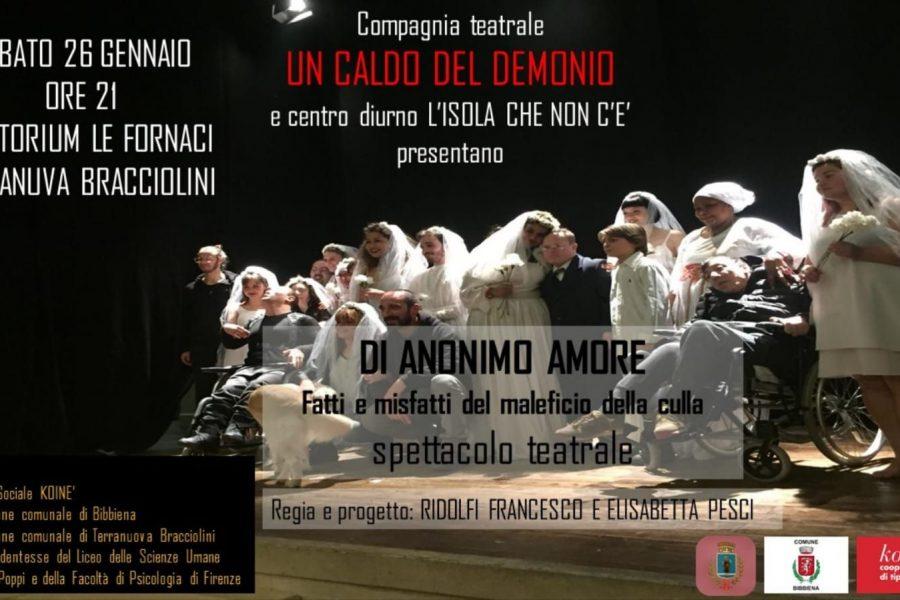 """Il teatro sociale arriva a Terranuova: va in scena """"Di anonimo amore"""""""